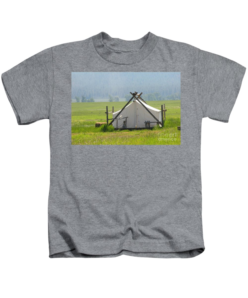 Montana Kids T-Shirt featuring the photograph Tent Living Montana 2010 by Diane Greco-Lesser