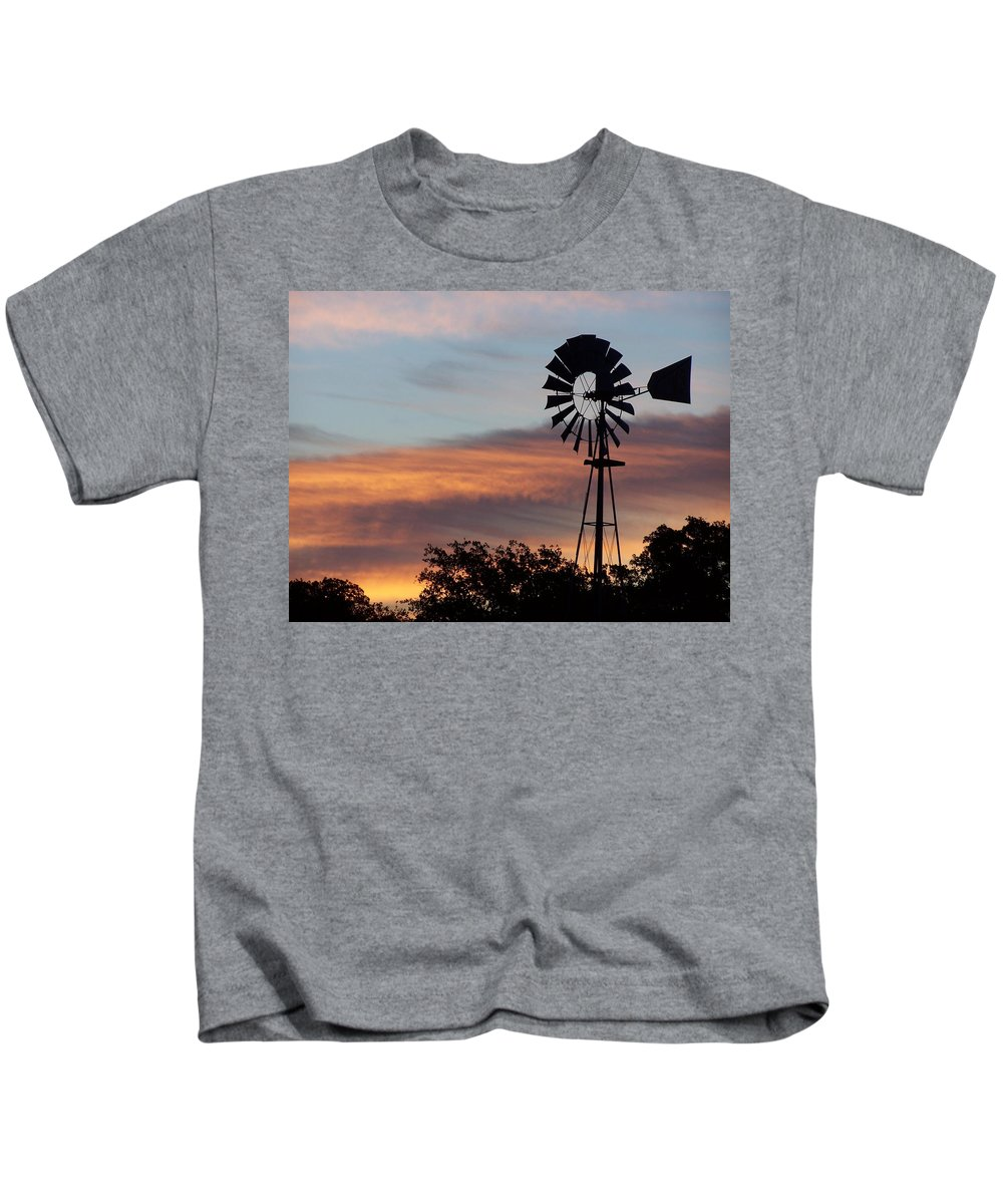 Windmill Kids T-Shirt featuring the photograph Texas Sunrise by Gale Cochran-Smith