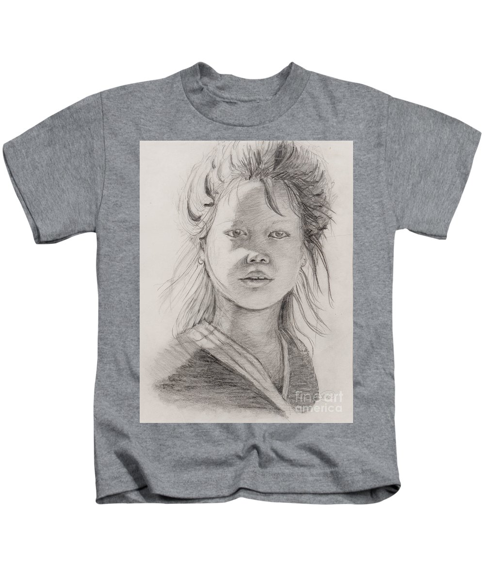 Portrait Kids T-Shirt featuring the drawing Thai Beauty by Nadine Rippelmeyer