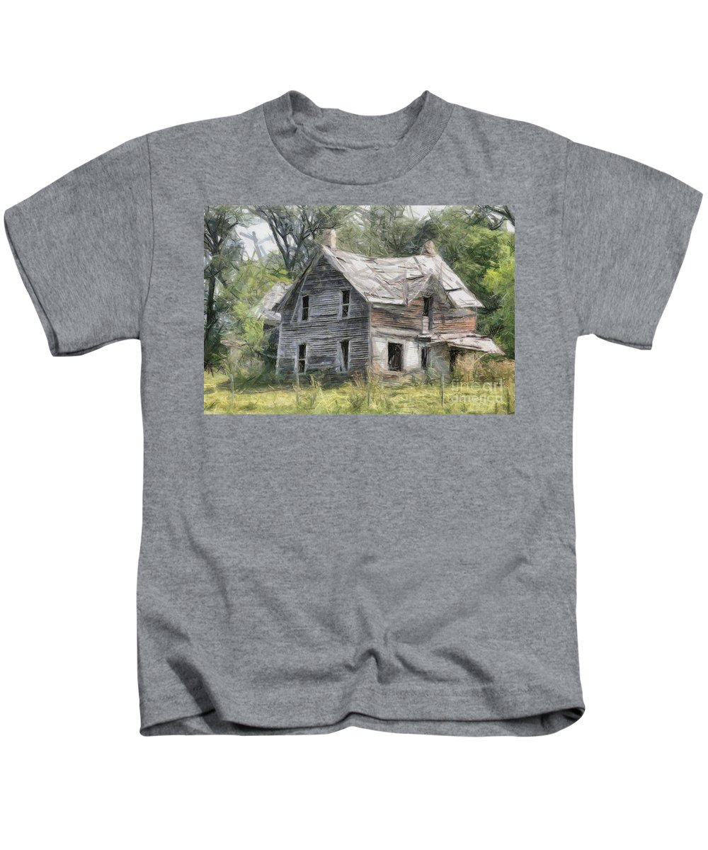 House Kids T-Shirt featuring the painting That Very Old House by Murphy Elliott