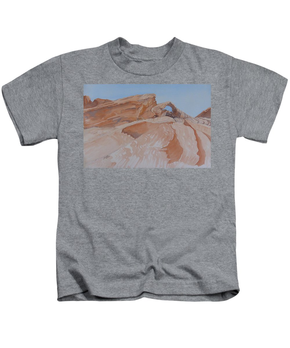 Eastern Nevada State Parks Kids T-Shirt featuring the painting The Arch Rock Experiment - Vi by Joel Deutsch