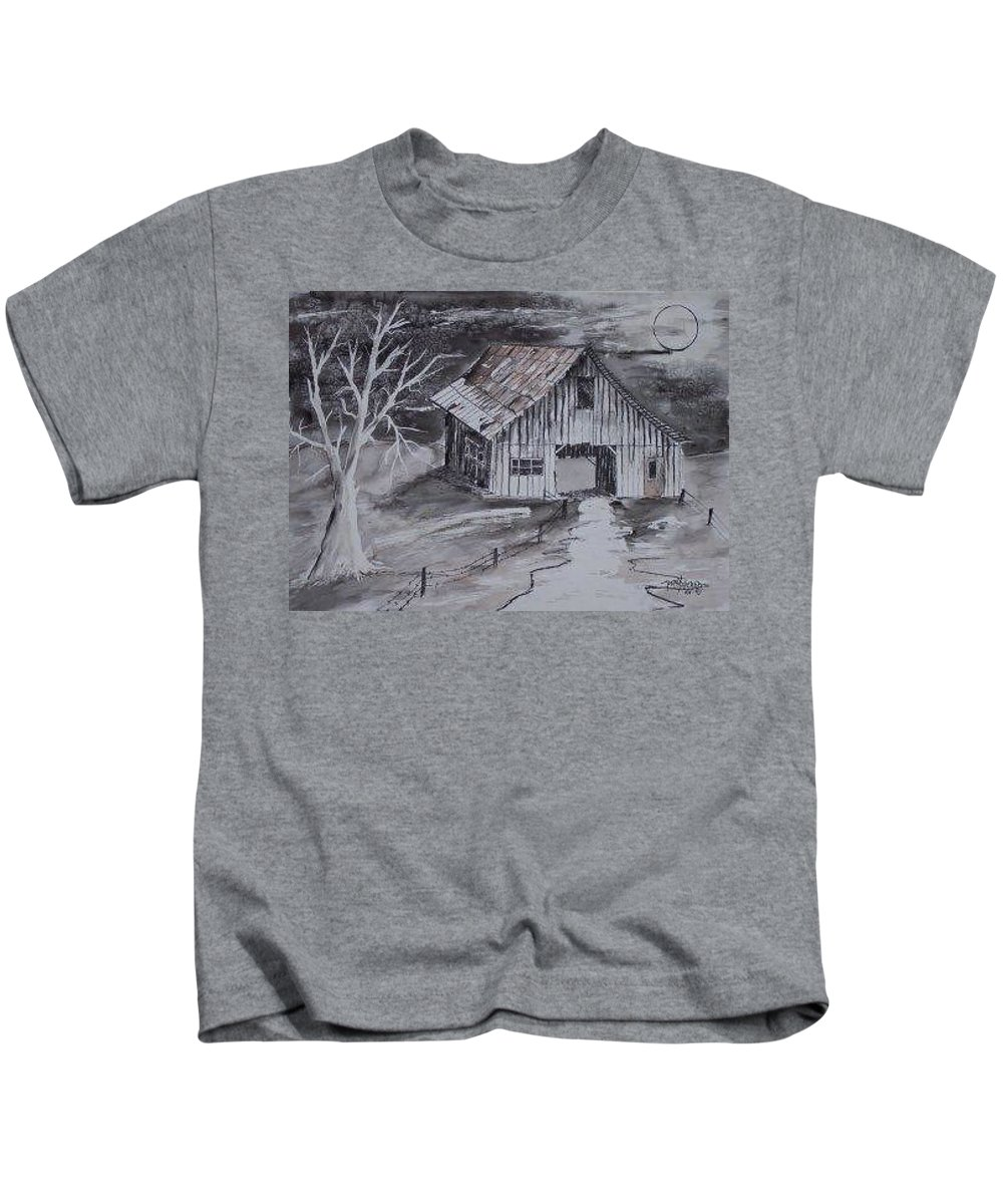 Watercolor Landscape Painting Barn Pen And Ink Painting Drawing Kids T-Shirt featuring the painting The Barn Country Pen And Ink Drawing by Derek Mccrea