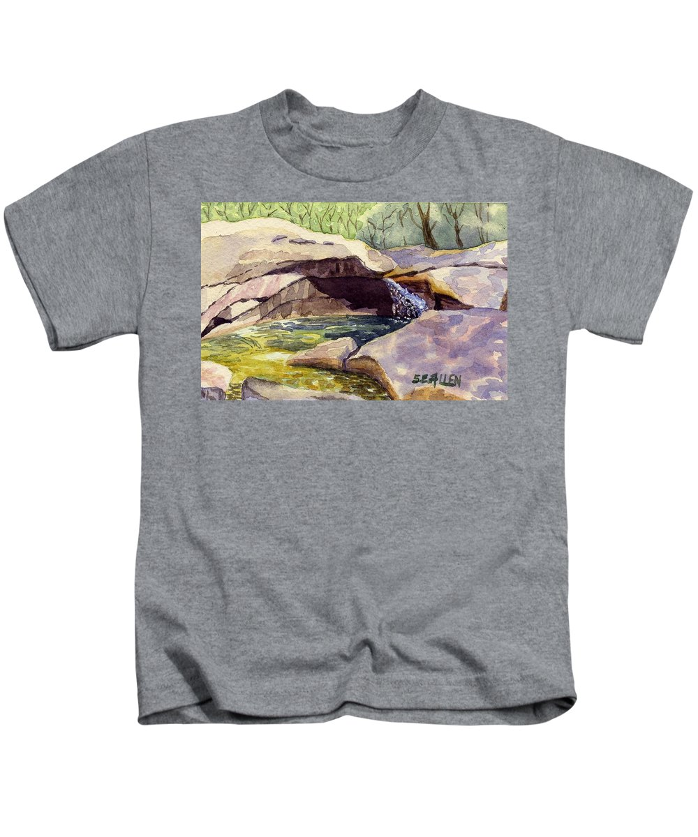The Basin Kids T-Shirt featuring the painting The Basin by Sharon E Allen
