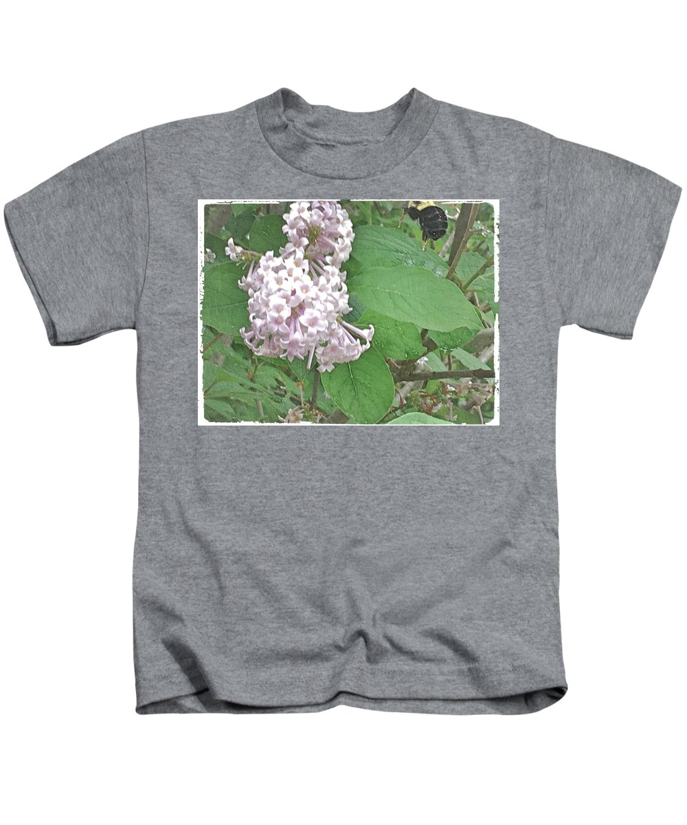 Bee Kids T-Shirt featuring the photograph The Bee Landing by Mario MJ Perron