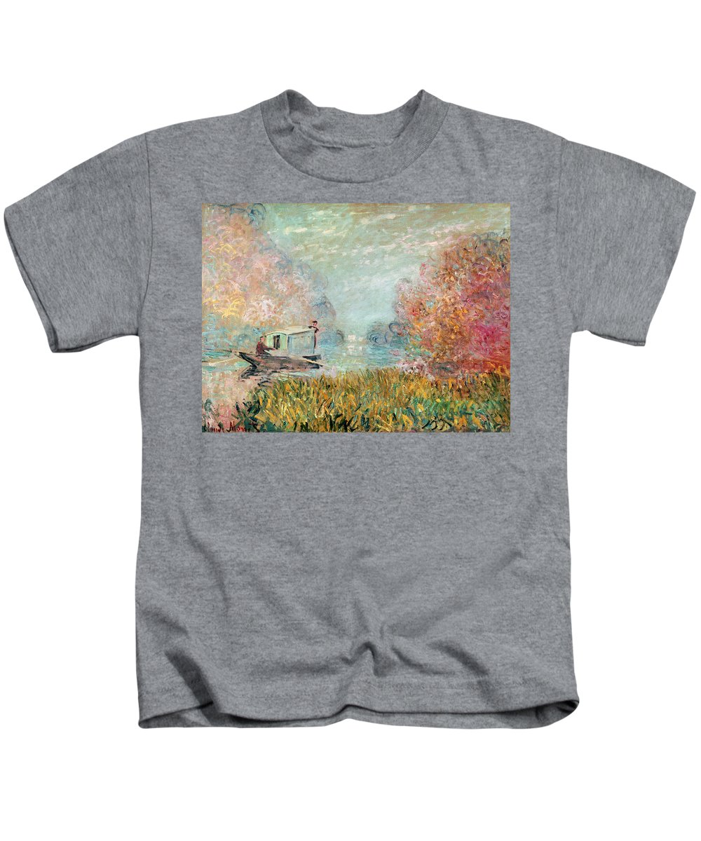 The Kids T-Shirt featuring the painting The Boat Studio On The Seine by Claude Monet