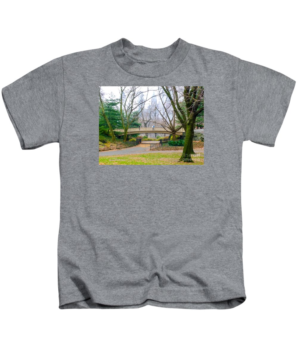 One Of The Oldest Bridges In Central Park Made Of Cast Iron Kids T-Shirt featuring the photograph The Bow Bridge In Central Park New York City by William Rogers