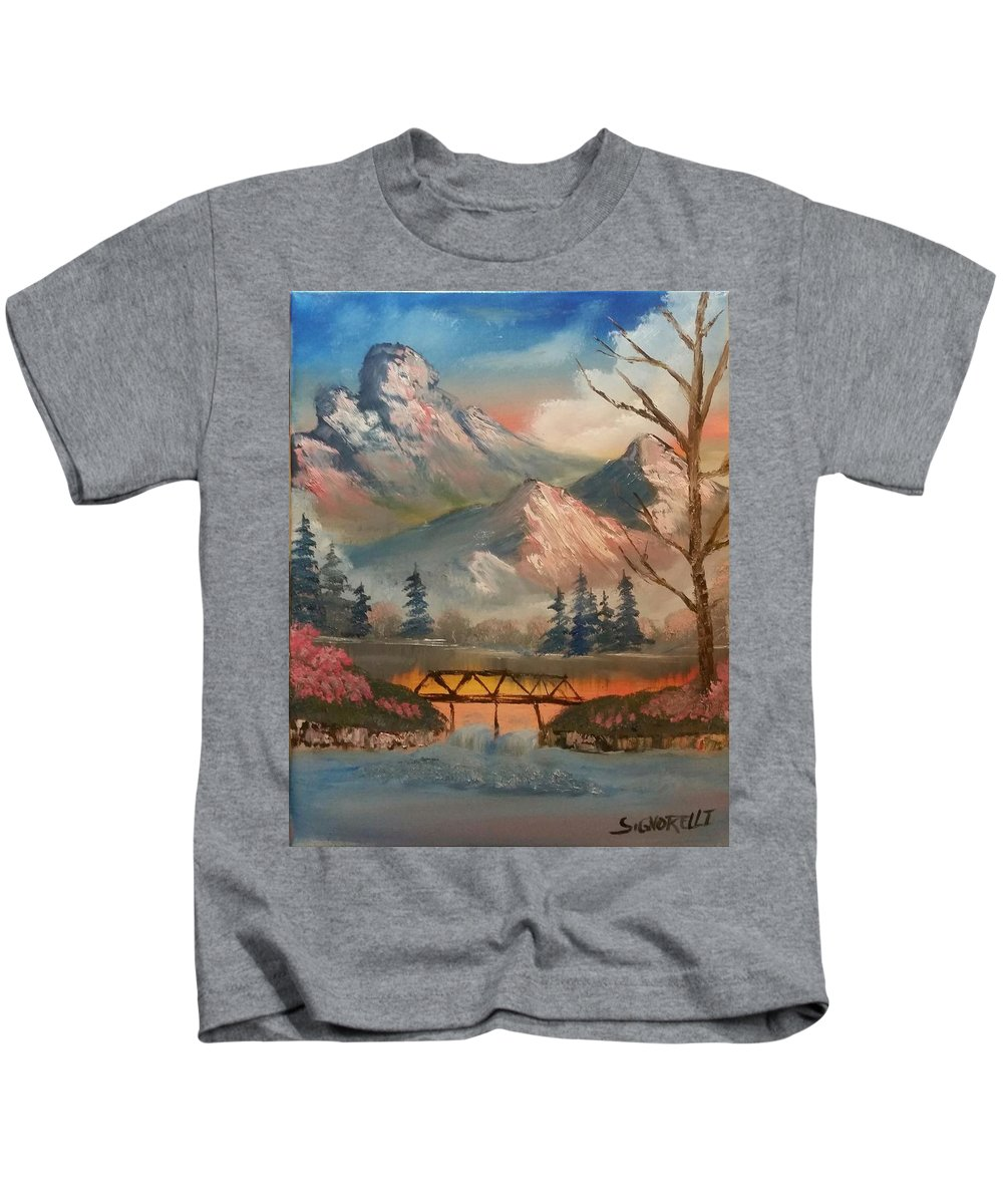 Suspension Bridge Kids T-Shirt featuring the painting The Bridge by Michael Signorelli