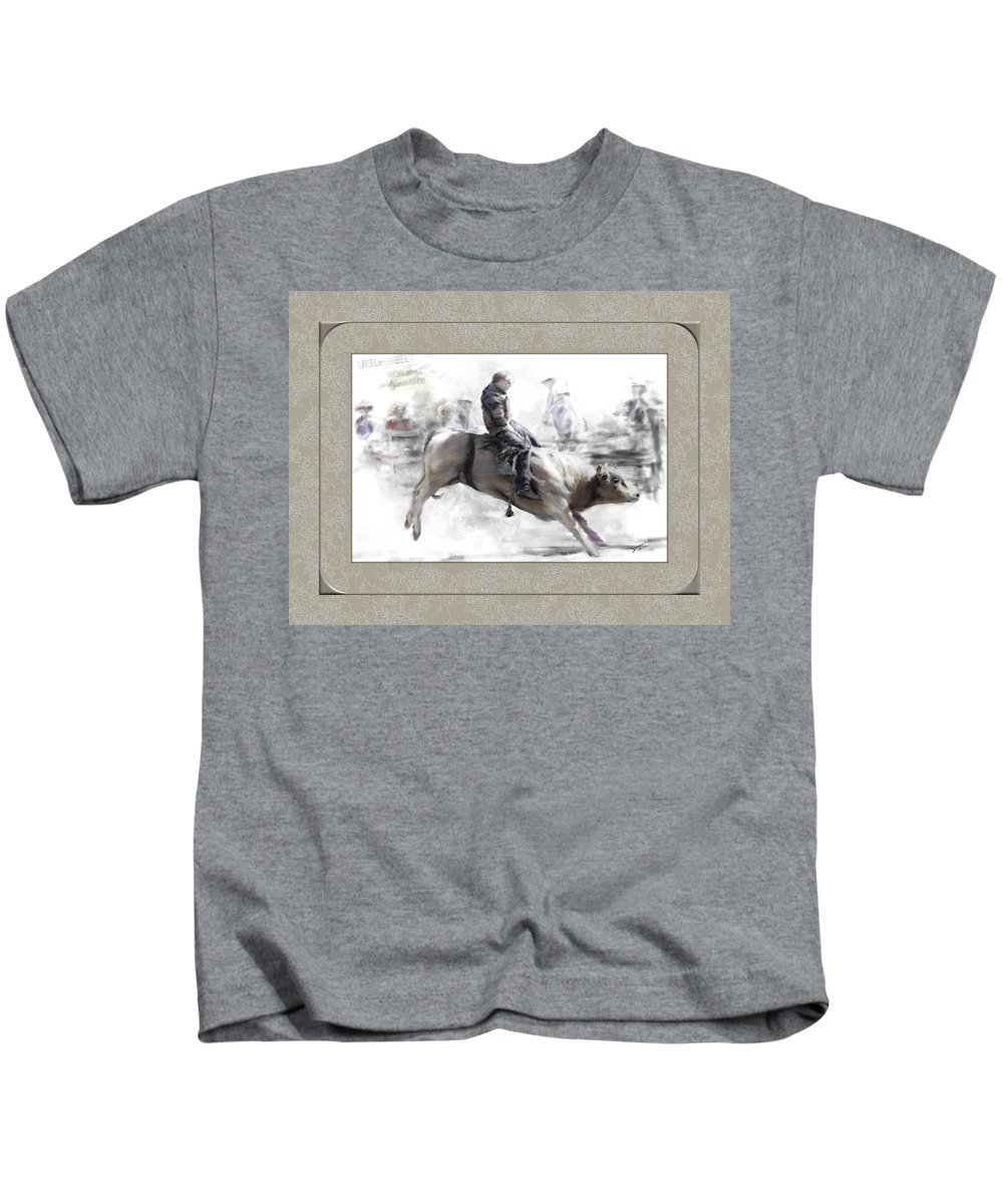 Bull Rider Kids T-Shirt featuring the painting The Bull Rider by Susan Kinney