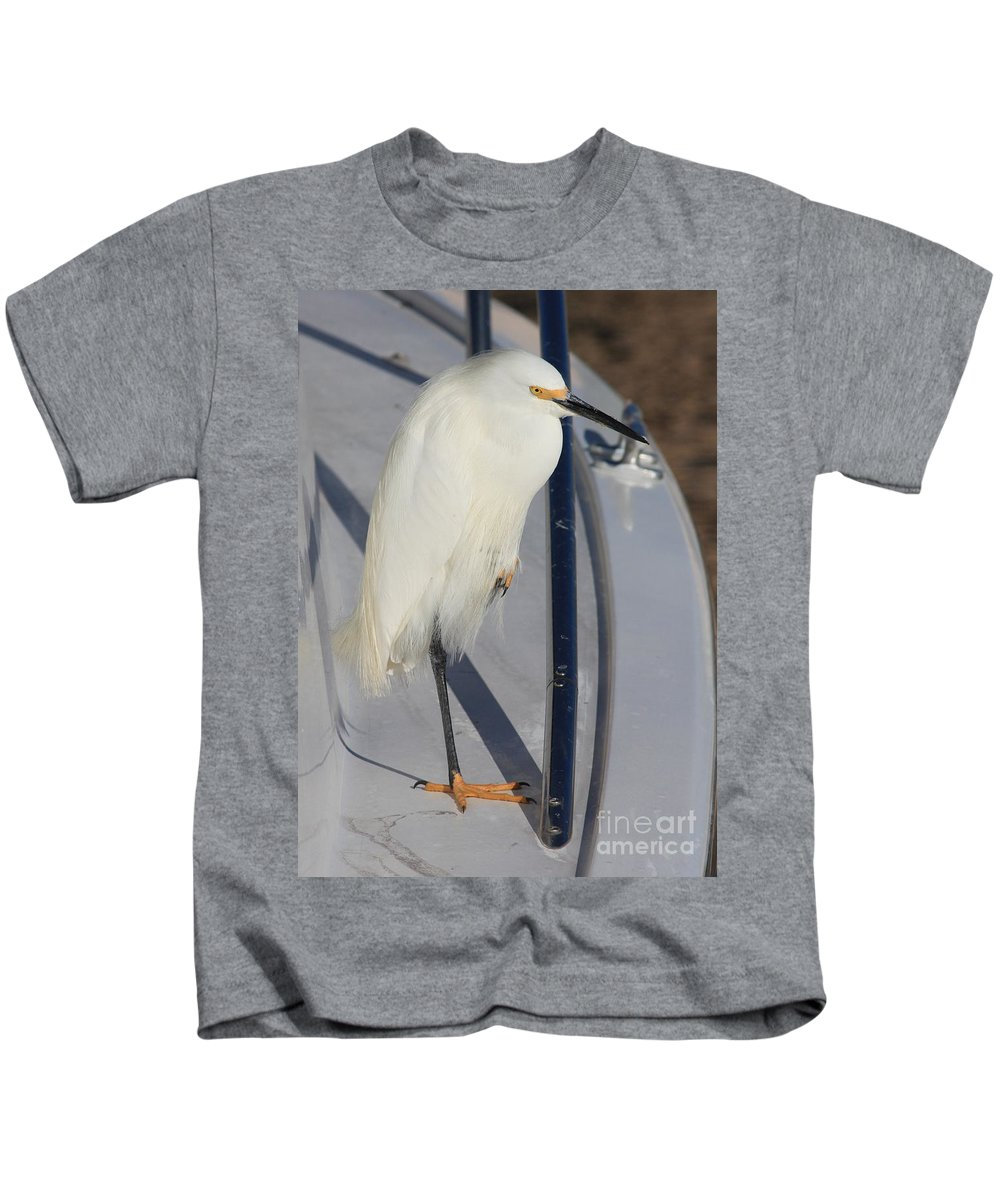 Snowy Egret Kids T-Shirt featuring the photograph The Captain by Carol Groenen