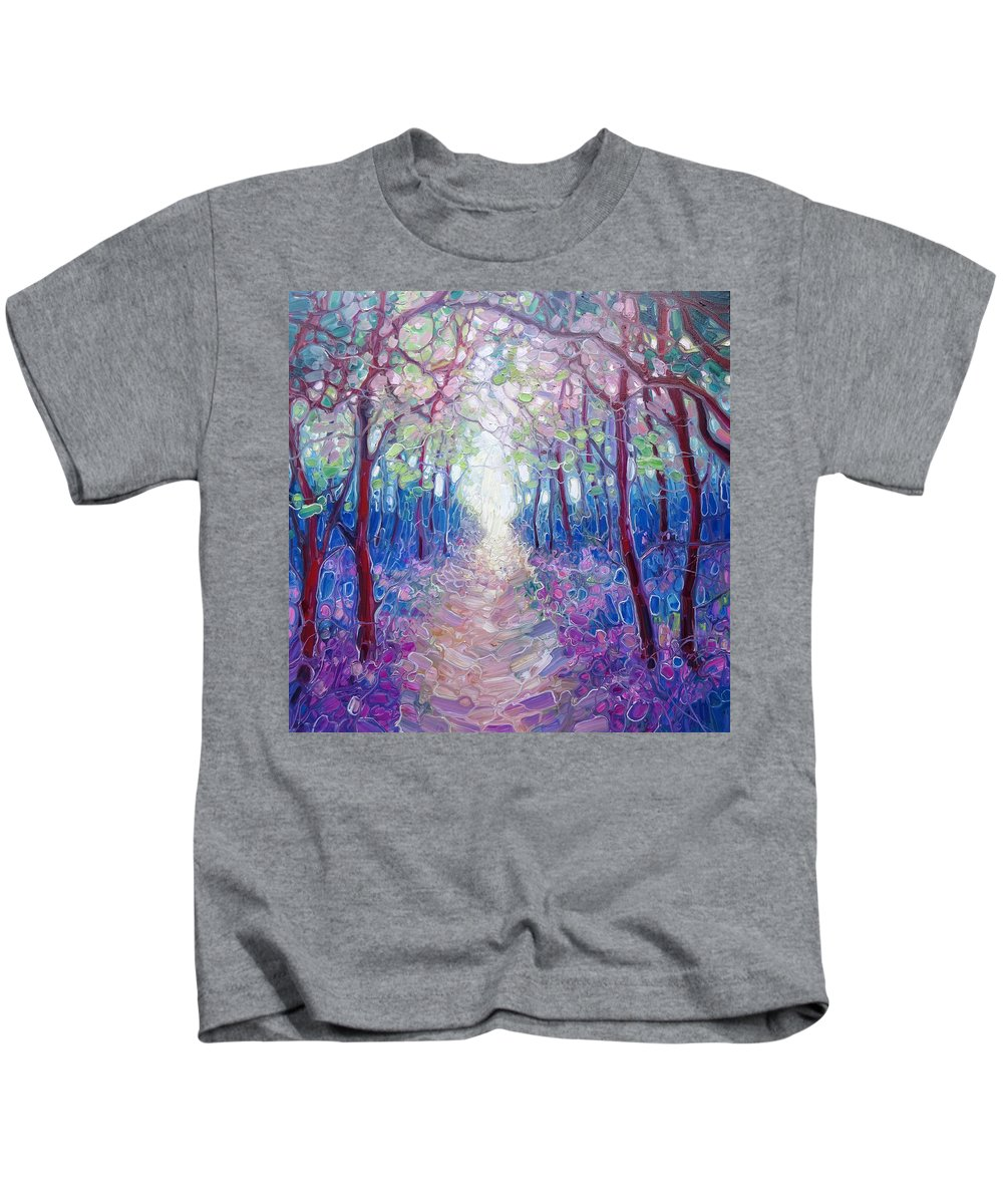 Blubell Woods Kids T-Shirt featuring the painting The Chaos And Hope Of Spring by Gill Bustamante