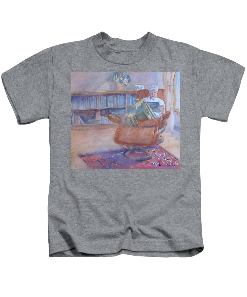 Man Kids T-Shirt featuring the painting The Civilized Engineer by Jenny Armitage