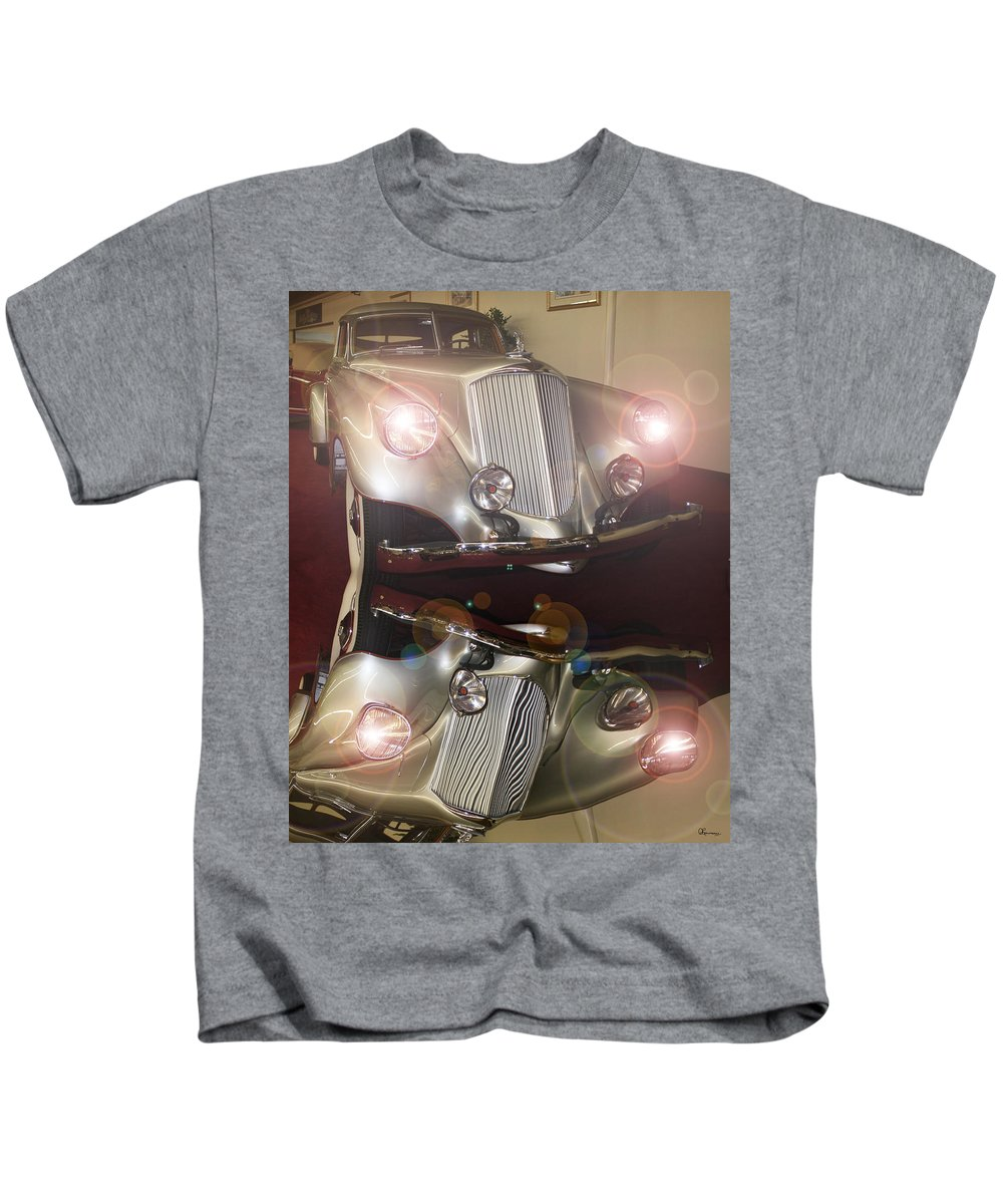 Classic Car Antique Vehicle Rolls Royce Photo Car Show Collector Automobile Chrome Kids T-Shirt featuring the photograph The Classic 1 by Andrea Lawrence