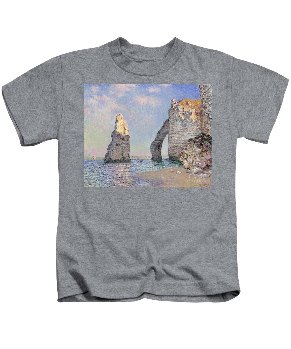 The Cliffs At Etretat Kids T-Shirt featuring the painting The Cliffs At Etretat by Claude Monet