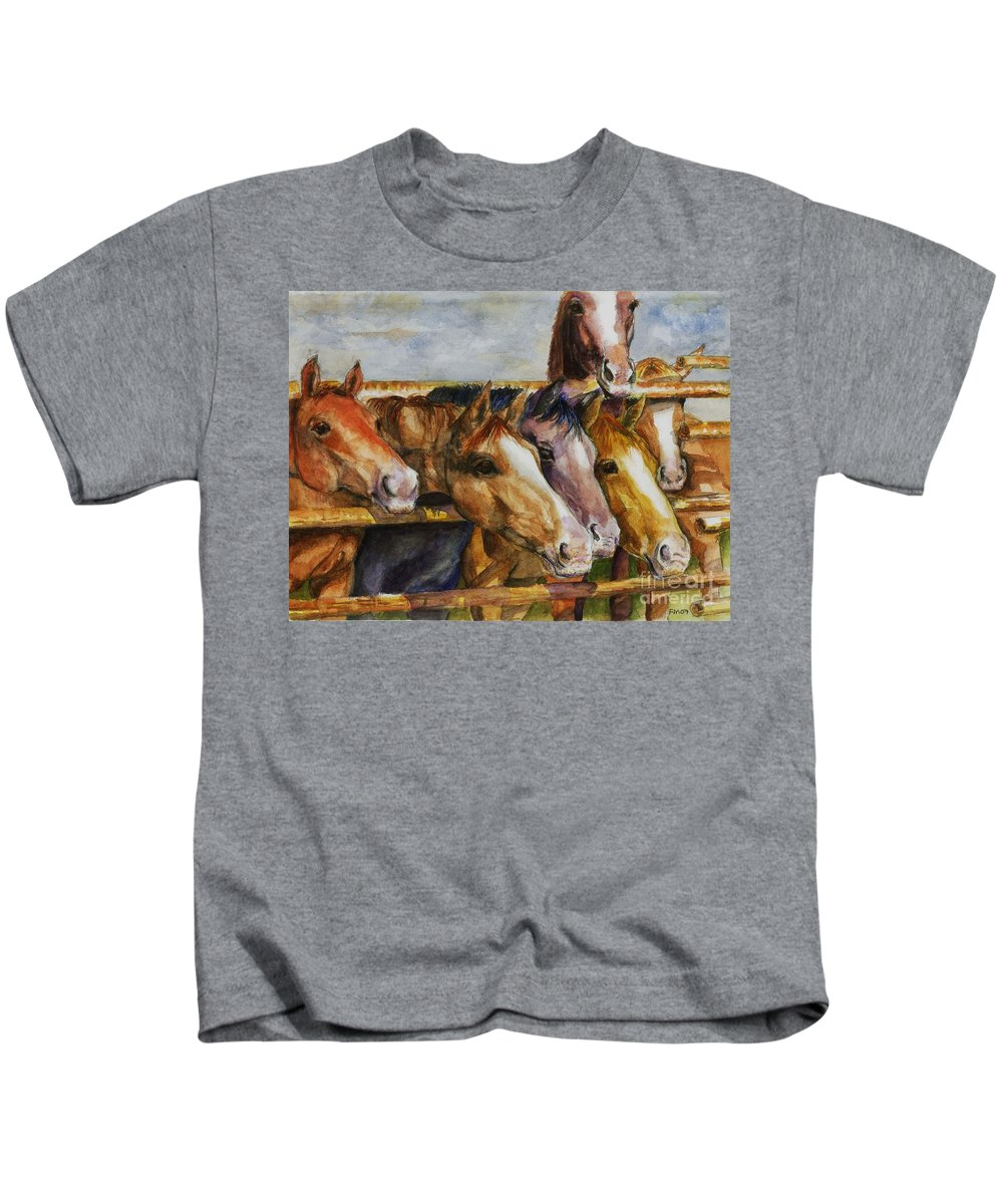 Horses Kids T-Shirt featuring the painting The Colorado Horse Rescue by Frances Marino
