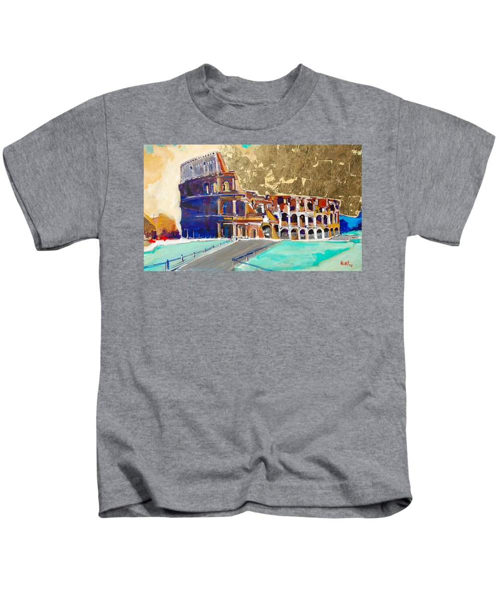 Colosseum Kids T-Shirt featuring the painting The Colosseum by Kurt Hausmann