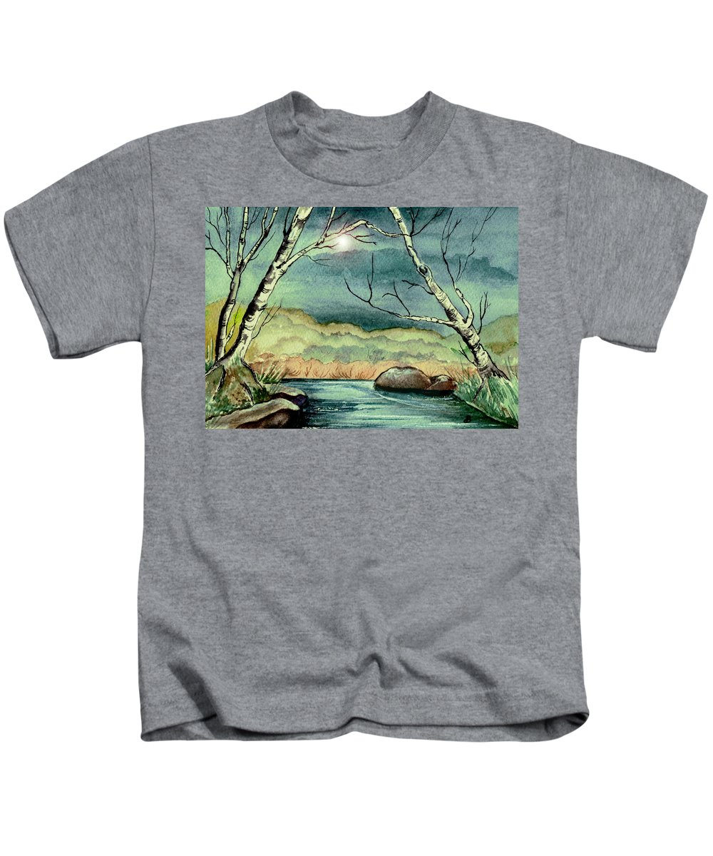 Watercolor Kids T-Shirt featuring the painting The Coming Storm by Brenda Owen