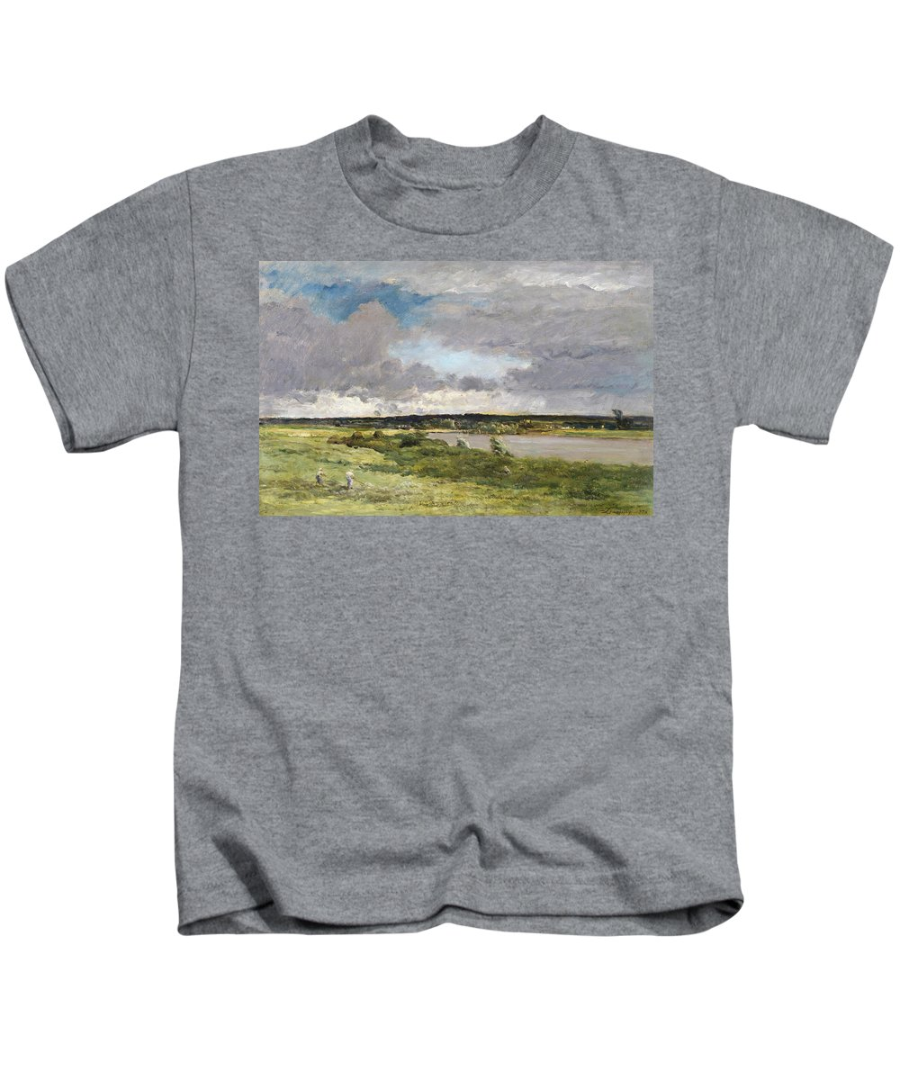 French Art Kids T-Shirt featuring the painting The Coming Storm, Early Spring by Charles Francois Daubigny