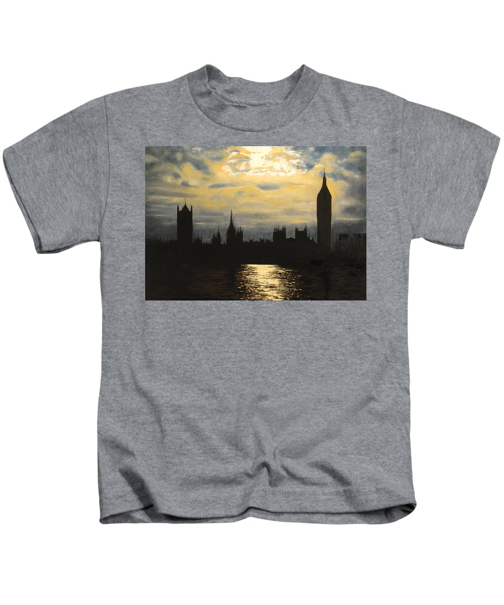 Landscape Kids T-Shirt featuring the painting The Commons From South Bank by Martin Davis