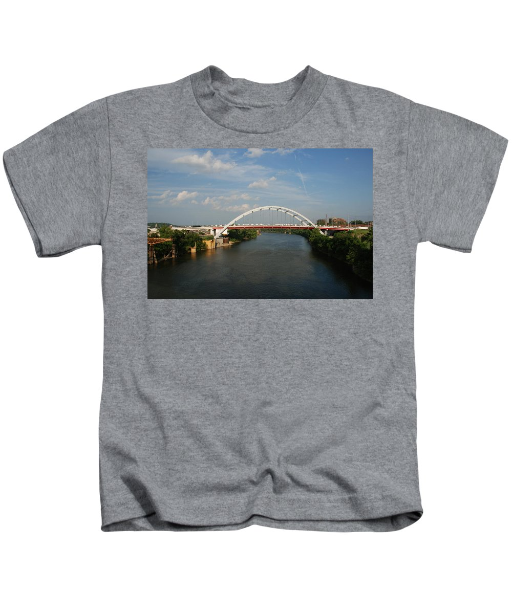 Nashville Photos Kids T-Shirt featuring the photograph The Cumberland River In Nashville by Susanne Van Hulst