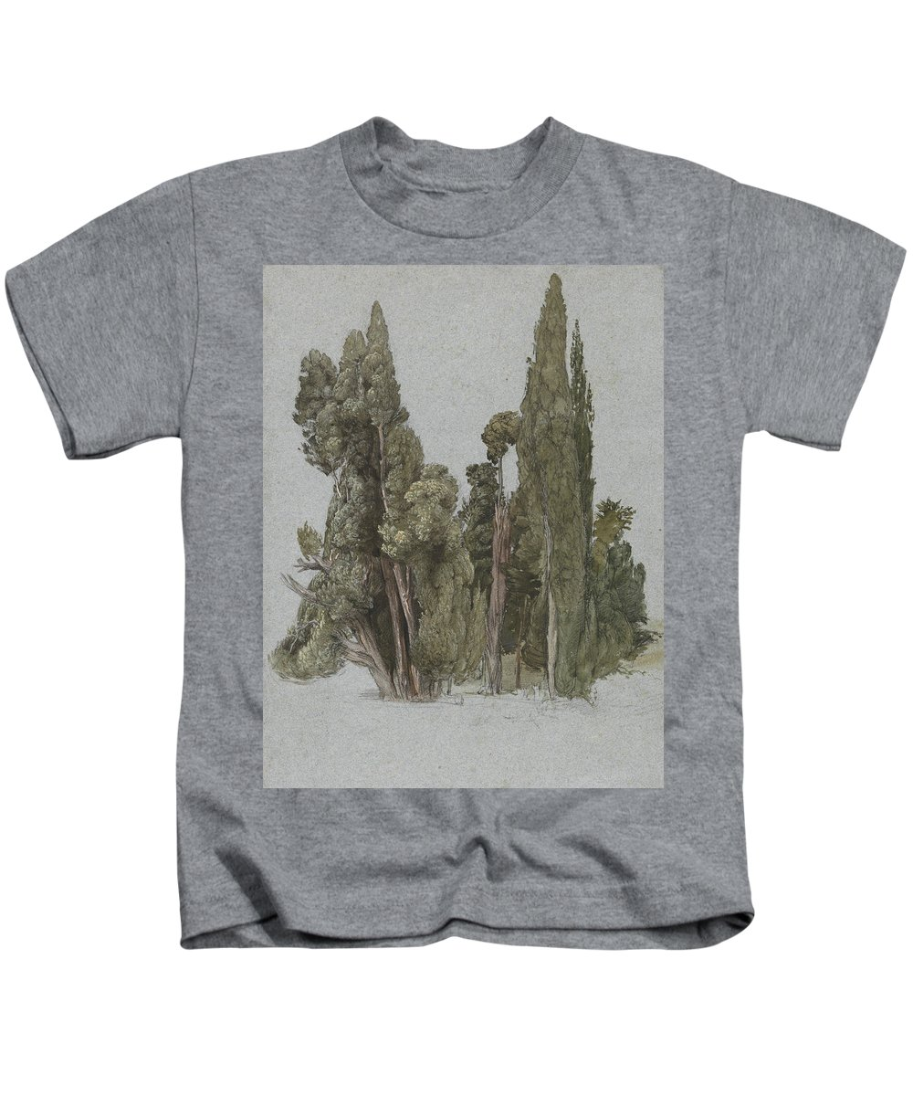 Samuel Palmer Kids T-Shirt featuring the painting The Cypresses At The Villa D'este, Tivoli by Samuel Palmer