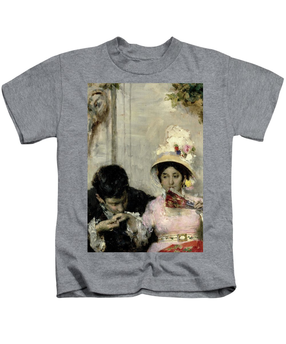 The Declaration (oil On Canvas) By Giacomo Favretto (1849-87) Kids T-Shirt featuring the painting The Declaration by Giacomo Favretto
