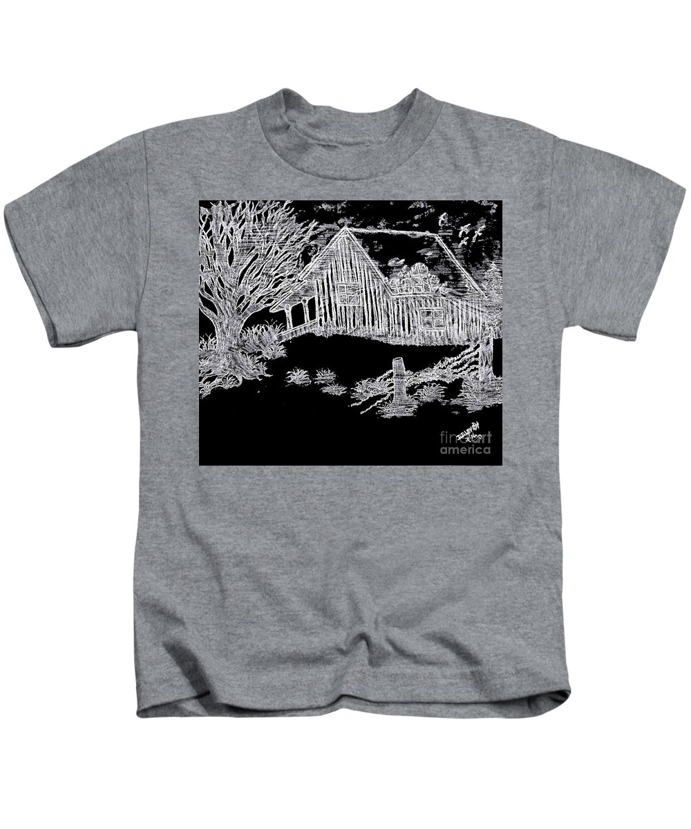 Pencil Kids T-Shirt featuring the drawing The Deserted Cabin At Night by Debra Lynch