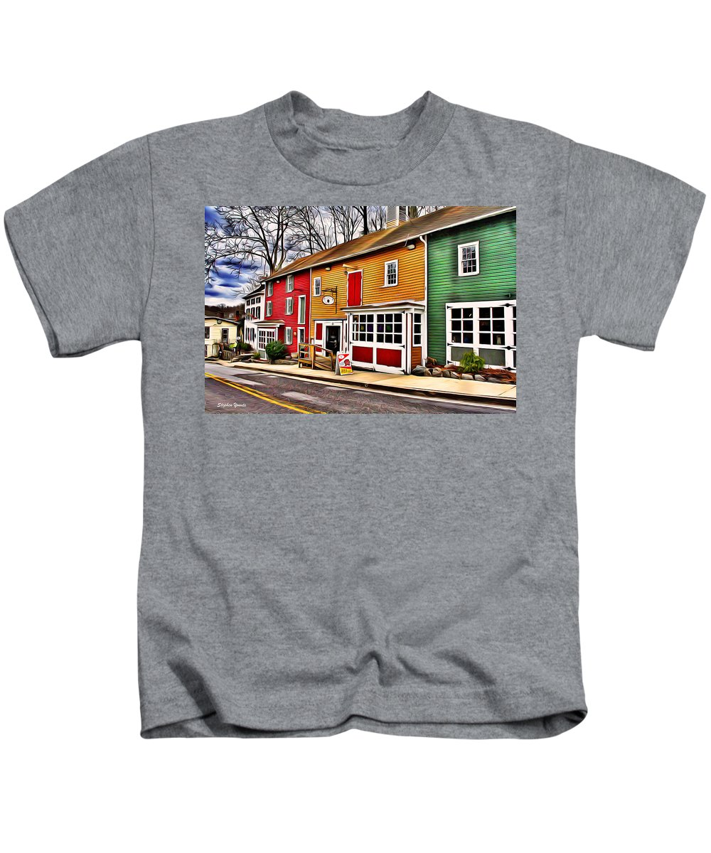 Ellicott Kids T-Shirt featuring the digital art The Diamondback Tavern Of Ellicott City by Stephen Younts