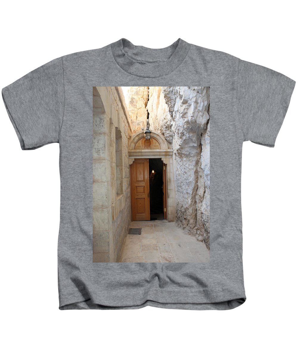 Photograph Kids T-Shirt featuring the photograph The Door by Munir Alawi