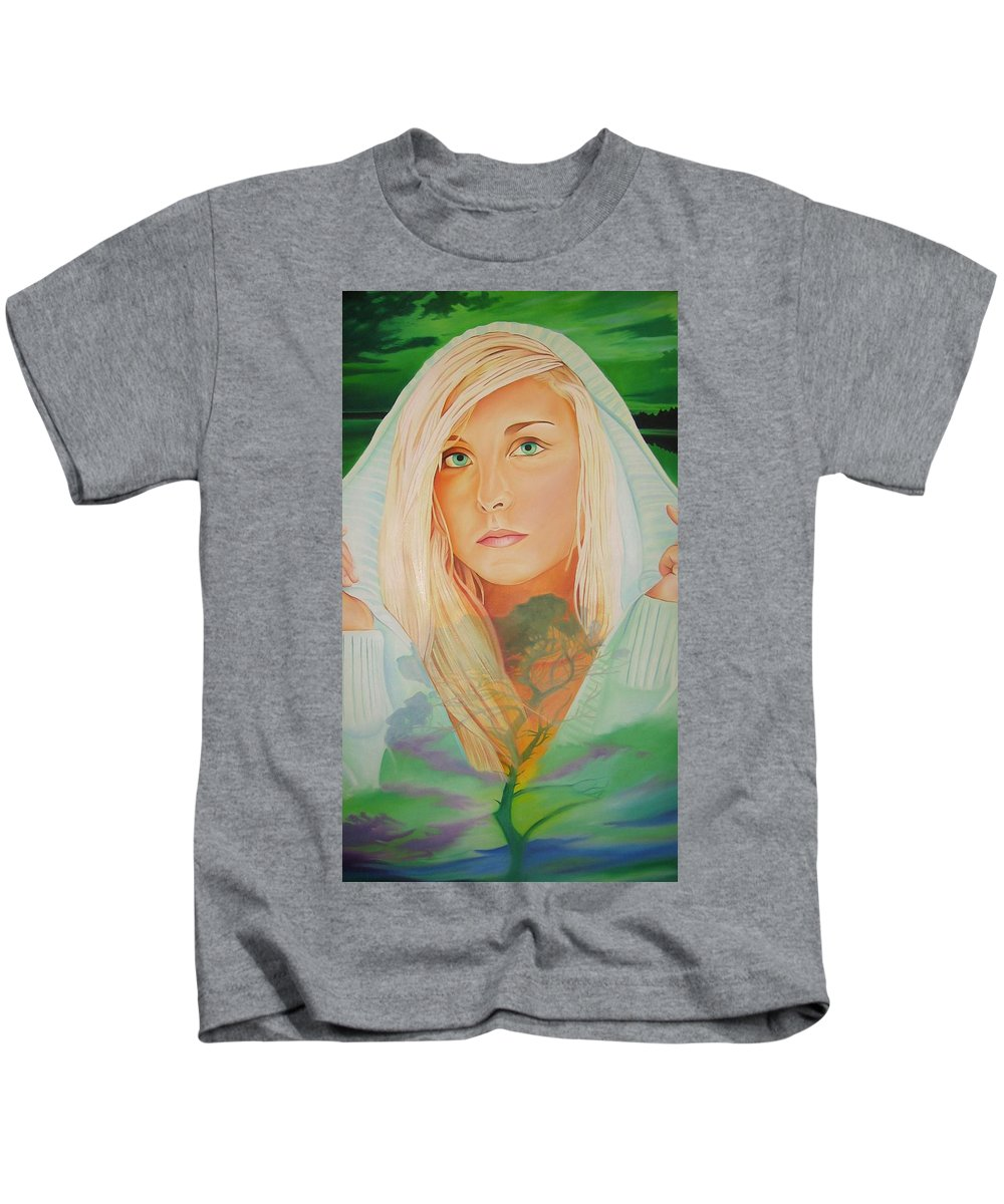 Beautiful Woman Kids T-Shirt featuring the painting The Dreaming Tree by Joshua Morton