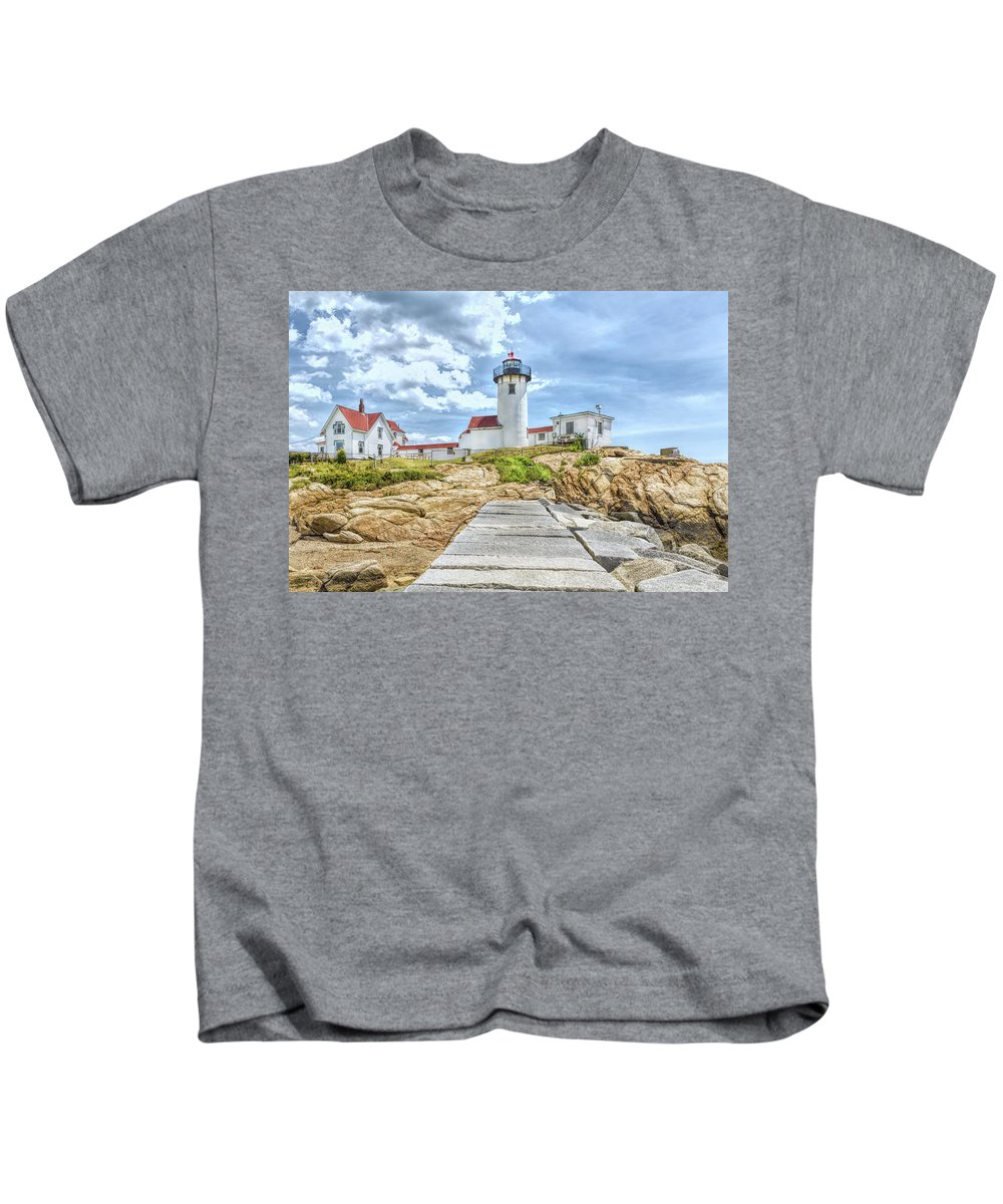 John Bailey Kids T-Shirt featuring the photograph The Eastern Point Lighthouse In Gloucester by John M Bailey