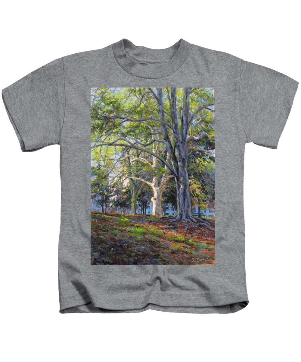 Central Park Kids T-Shirt featuring the painting The Edge Of A Central Park Afternoon by Dan Bulleit