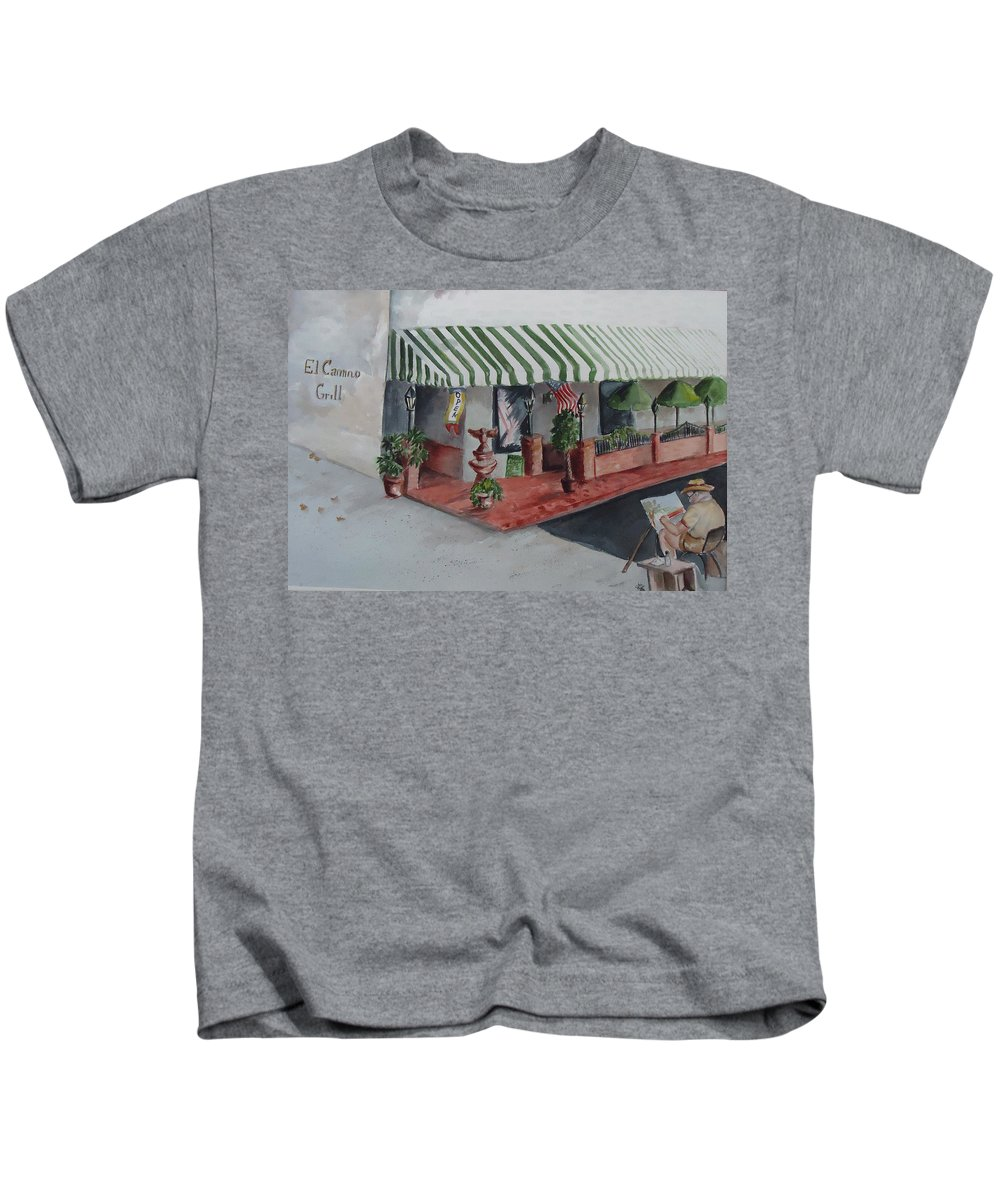 Grill Kids T-Shirt featuring the painting The El Camino Grill by Charme Curtin