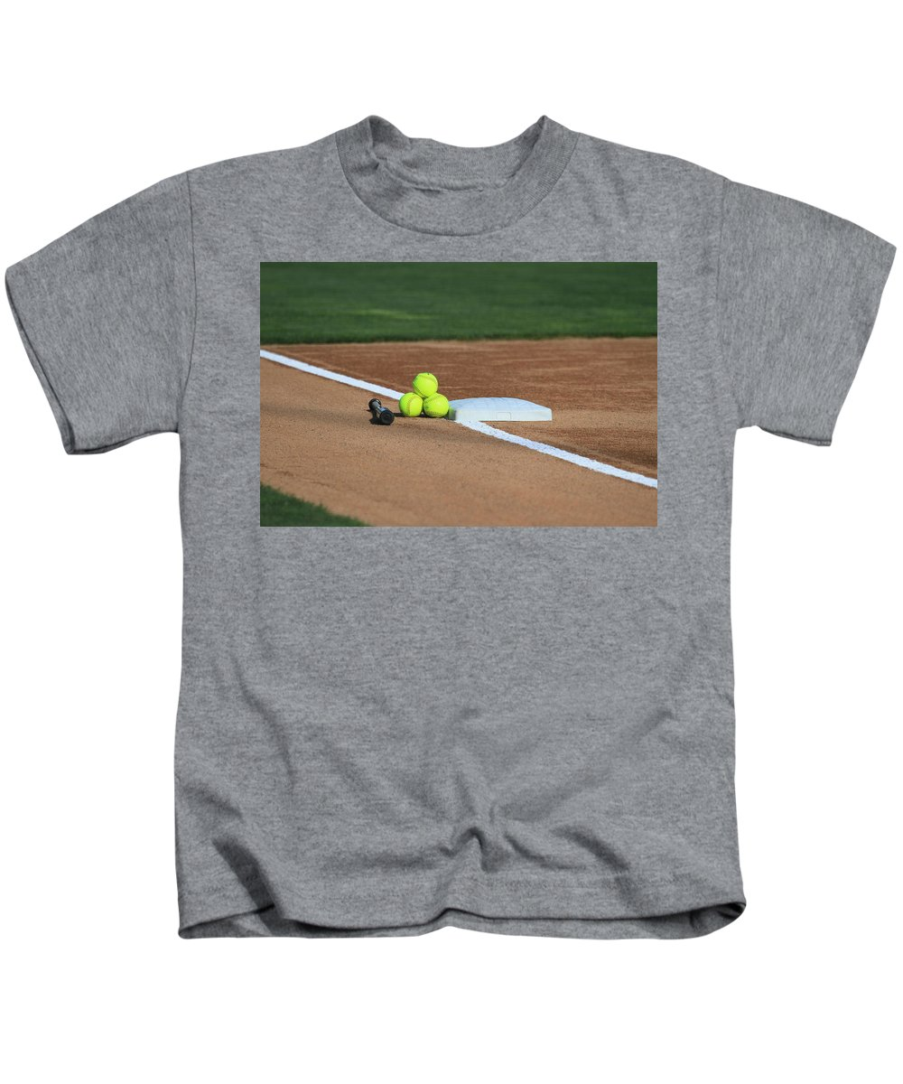 Softball Kids T-Shirt featuring the photograph The Elements by Laddie Halupa