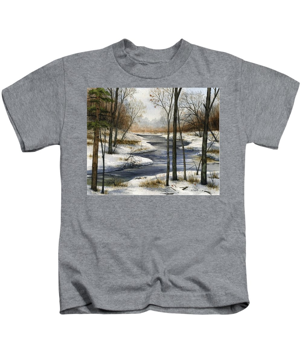 River Kids T-Shirt featuring the painting The End Of The Road by Mary Tuomi