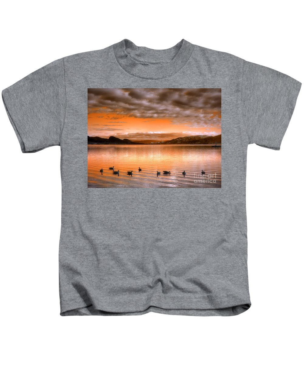 Clouds Kids T-Shirt featuring the photograph The Evening Geese by Tara Turner
