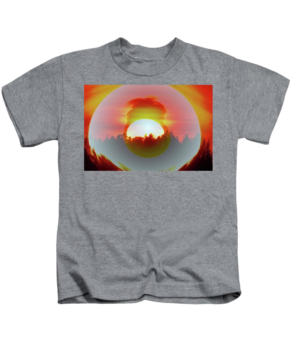 Sun Fall Kids T-Shirt featuring the photograph The Falling Sun by Jeff Swan