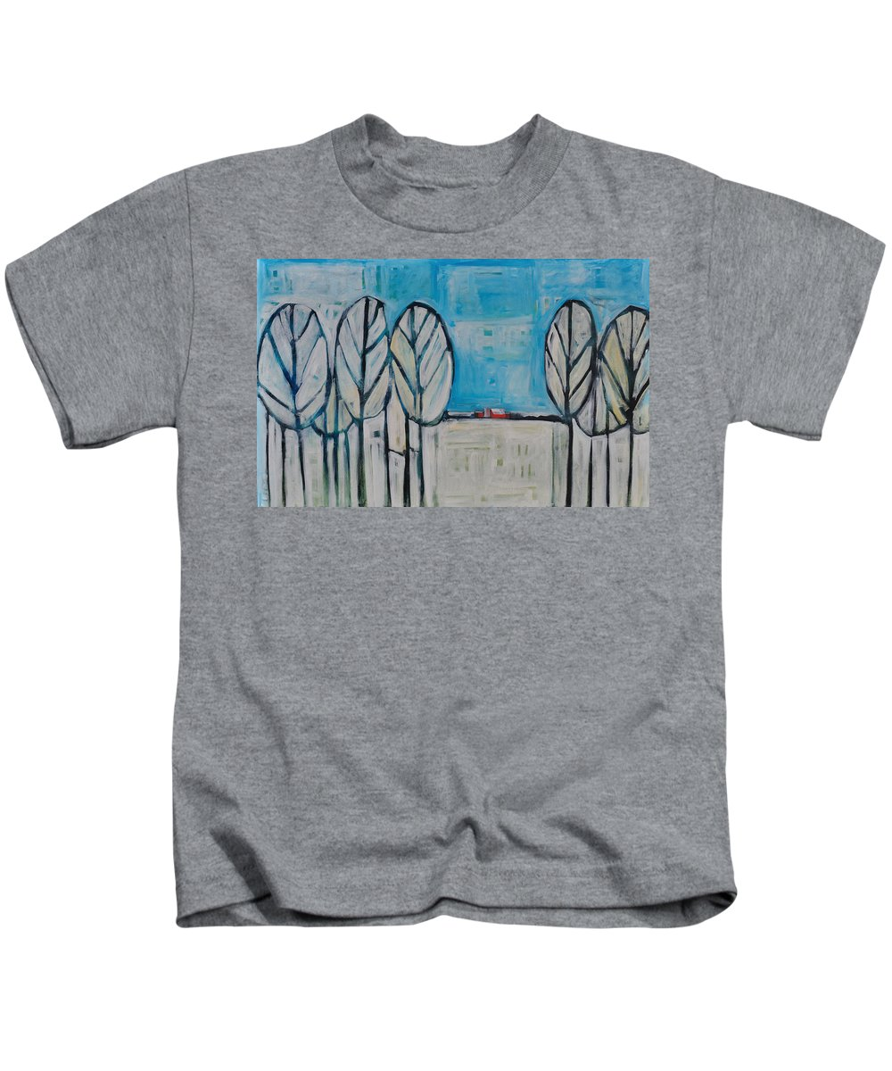 Snow Kids T-Shirt featuring the painting The First Snow by Tim Nyberg