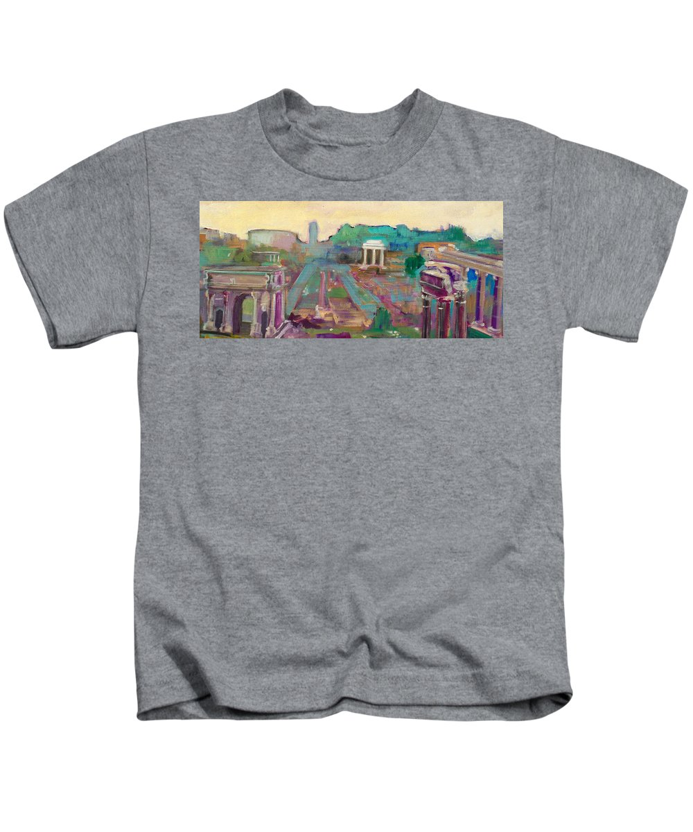 Rome Kids T-Shirt featuring the painting The Forum Romanum by Kurt Hausmann