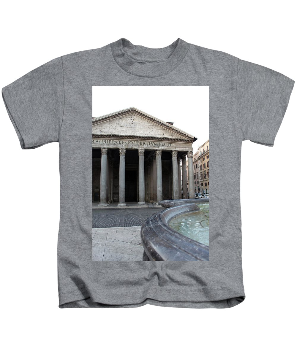 Fountain Kids T-Shirt featuring the photograph The Fountain In Front Of Pantheon by Munir Alawi