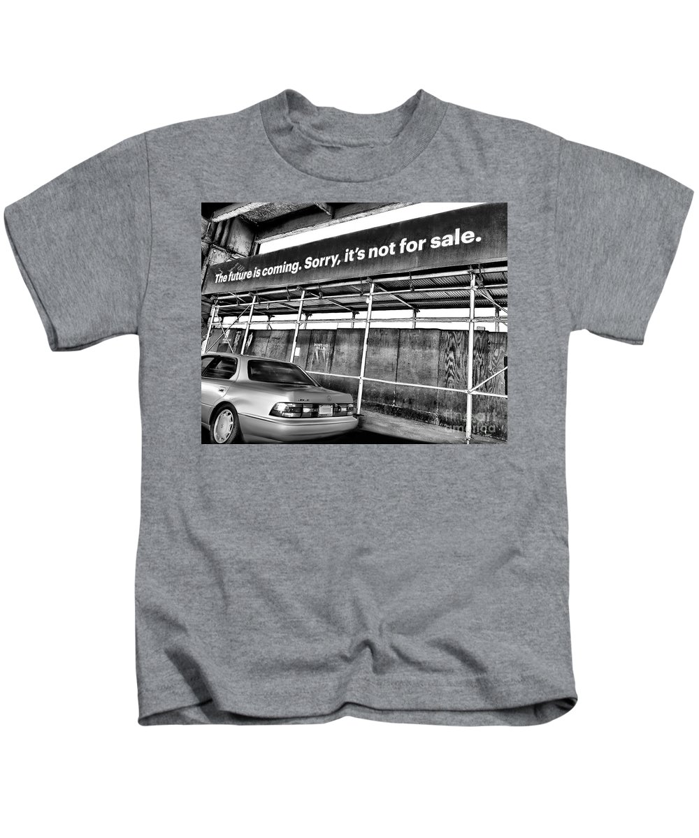 Car Kids T-Shirt featuring the photograph The Future Is Not For Sale by Diana Rajala