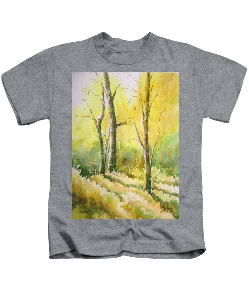 Landscapes Kids T-Shirt featuring the painting The Golden Trio by Sandeep Khedkar
