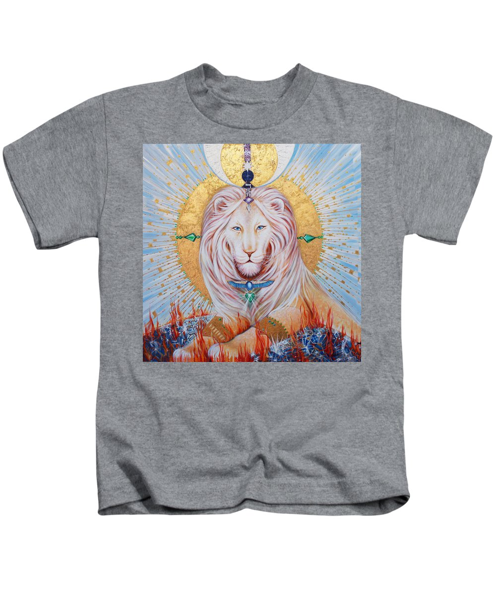 White Lion Kids T-Shirt featuring the painting The Guardian Of Wisdom by Silvia Duran