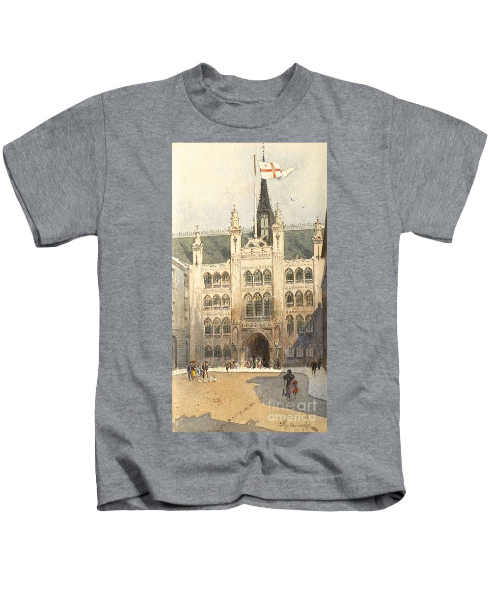 J Tim Macdonald - Fl 1889-1919 The Guildhall Kids T-Shirt featuring the painting The Guildhall by MotionAge Designs