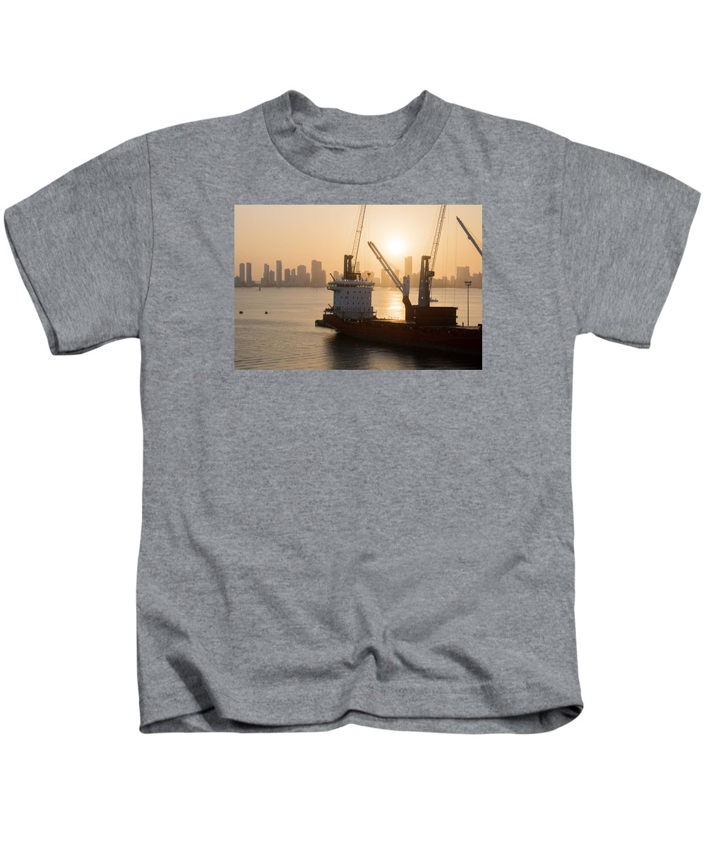 Harbor Kids T-Shirt featuring the photograph The Harbor by Eline Van Nes