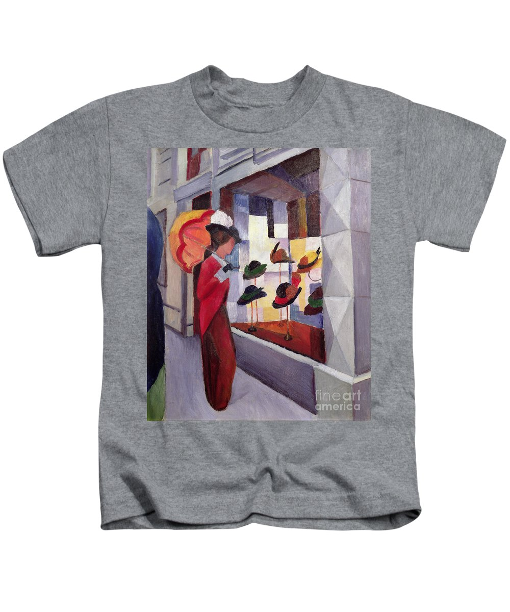 The Kids T-Shirt featuring the painting The Hat Shop by August Macke