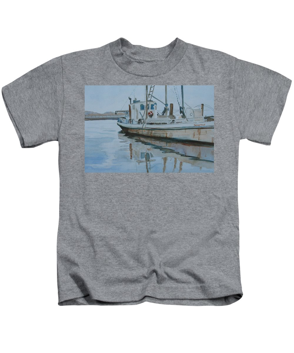 Boat Kids T-Shirt featuring the painting The Helen Mccoll At Rest by Jenny Armitage