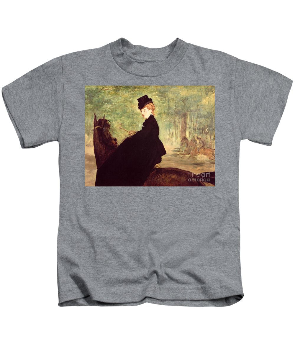 The Kids T-Shirt featuring the painting The Horsewoman by Edouard Manet