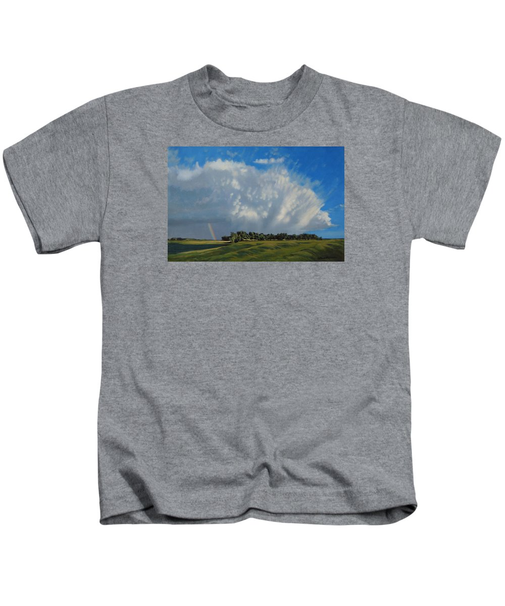Landscape Kids T-Shirt featuring the painting The June Rains Have Passed by Bruce Morrison