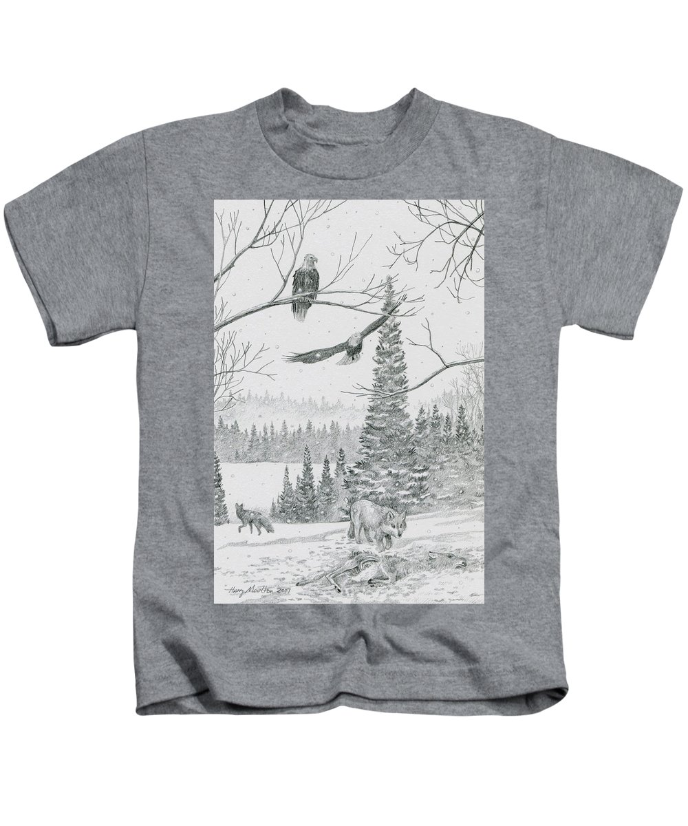 Nature Kids T-Shirt featuring the drawing The Kill by Harry Moulton