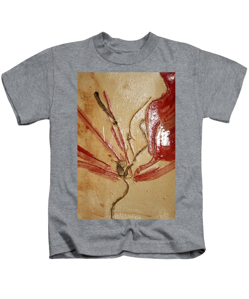 Gloria Ssali Kids T-Shirt featuring the ceramic art the Kiss - tile 2 by Gloria Ssali